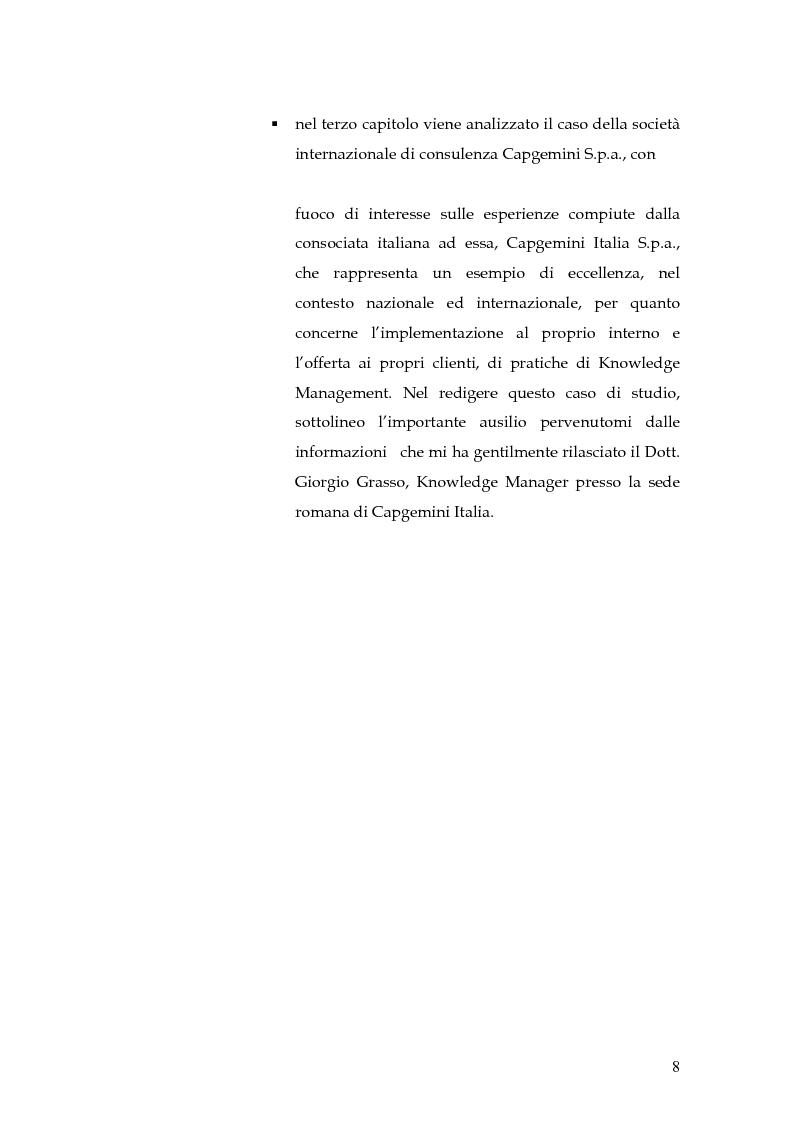 Anteprima della tesi: Knowledge Management: dalla tassonomia dei progetti al modello gestionale, Pagina 5
