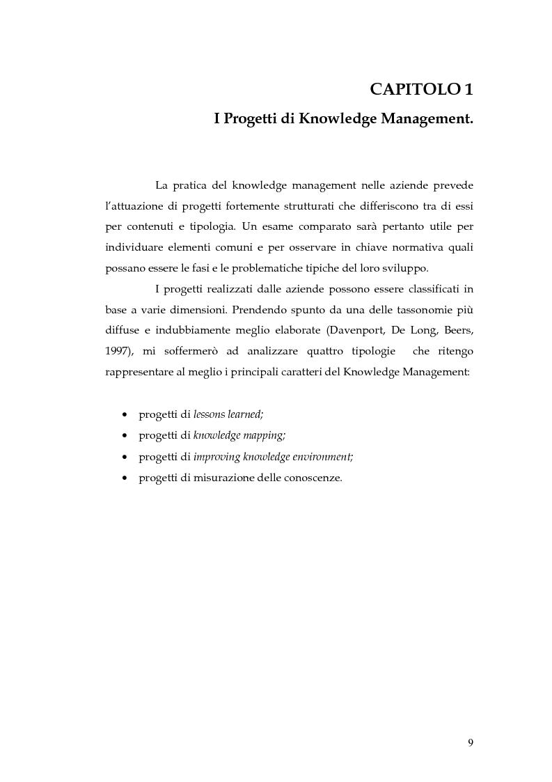 Anteprima della tesi: Knowledge Management: dalla tassonomia dei progetti al modello gestionale, Pagina 6