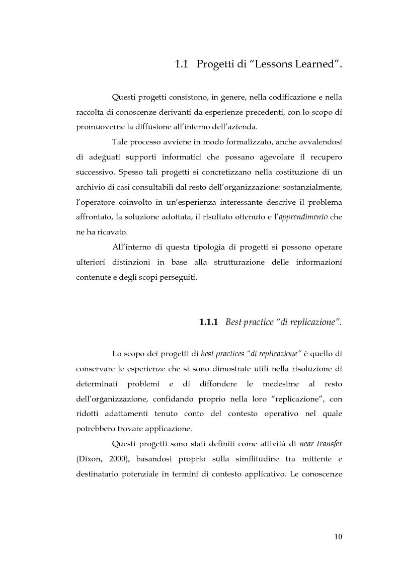 Anteprima della tesi: Knowledge Management: dalla tassonomia dei progetti al modello gestionale, Pagina 7