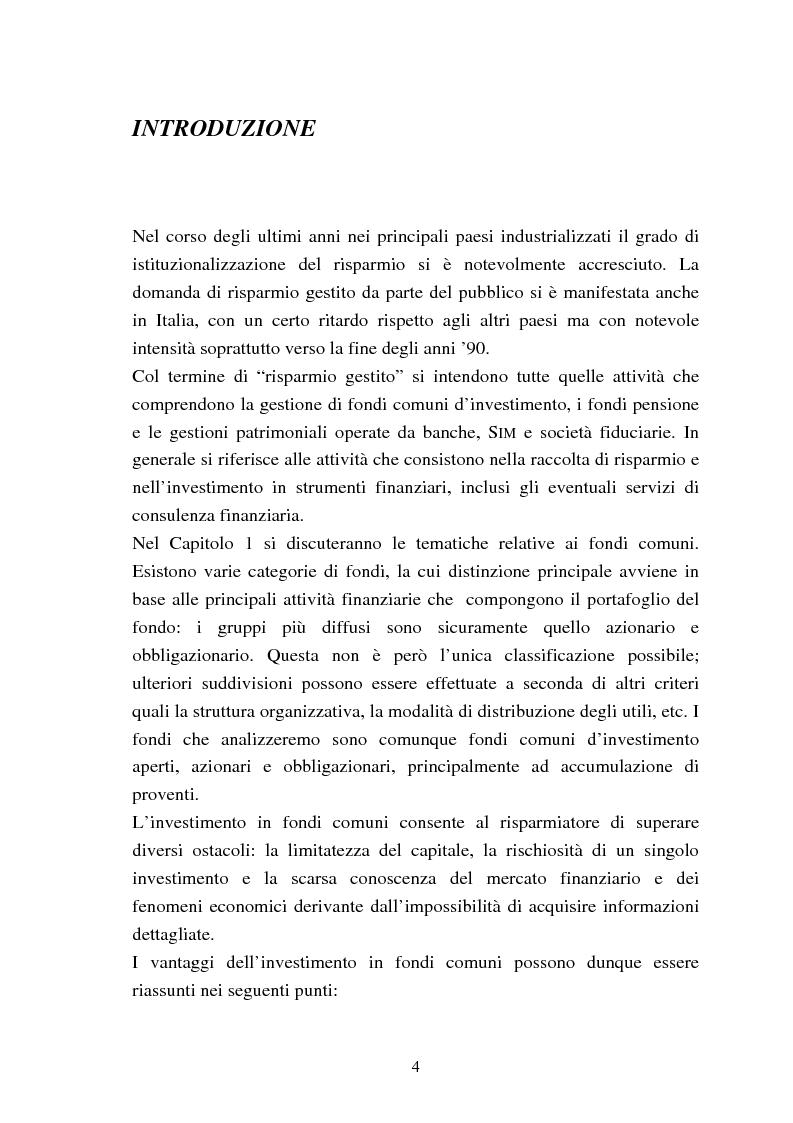 Anteprima della tesi: Fondi comuni azionari e obbligazionari: analisi delle performance, Pagina 1