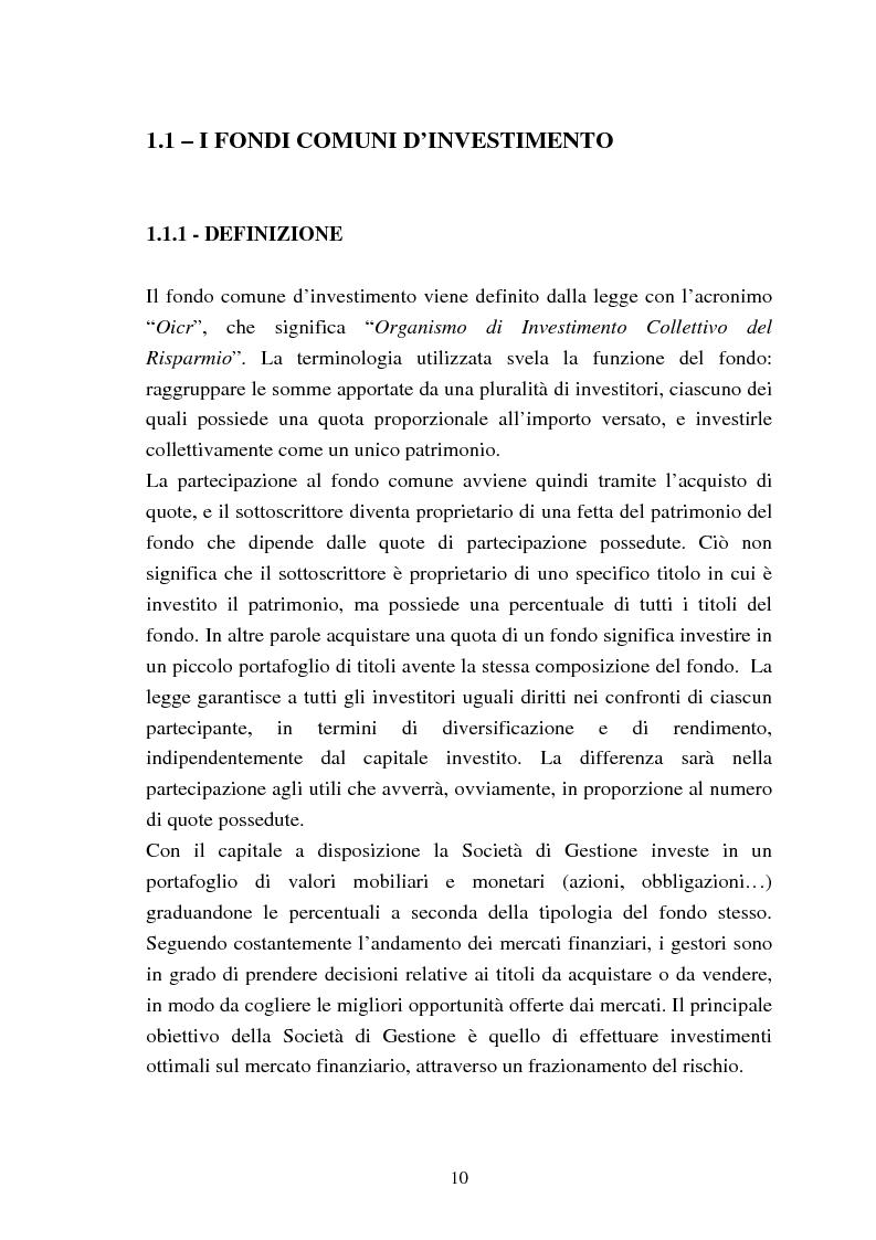 Anteprima della tesi: Fondi comuni azionari e obbligazionari: analisi delle performance, Pagina 7