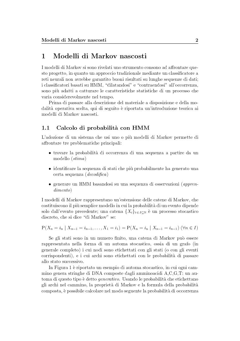 Anteprima della tesi: Riconoscimento di sequenze di amminoacidi tramite HMM, Pagina 2