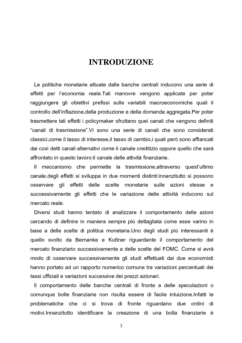 Anteprima della tesi: I meccanismi di trasmissione e i prezzi delle attività finanziarie, Pagina 1