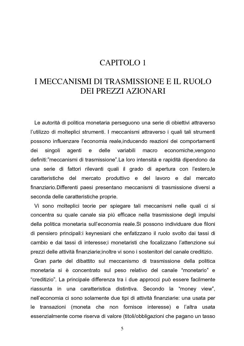 Anteprima della tesi: I meccanismi di trasmissione e i prezzi delle attività finanziarie, Pagina 3
