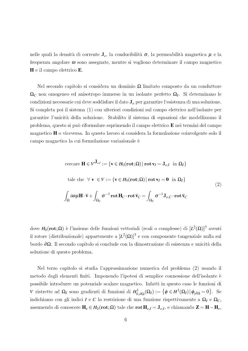 Anteprima della tesi: Metodo degli elementi finiti per l'approssimazione numerica del problema delle correnti parassite, Pagina 2