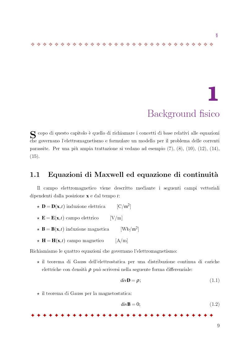 Anteprima della tesi: Metodo degli elementi finiti per l'approssimazione numerica del problema delle correnti parassite, Pagina 5