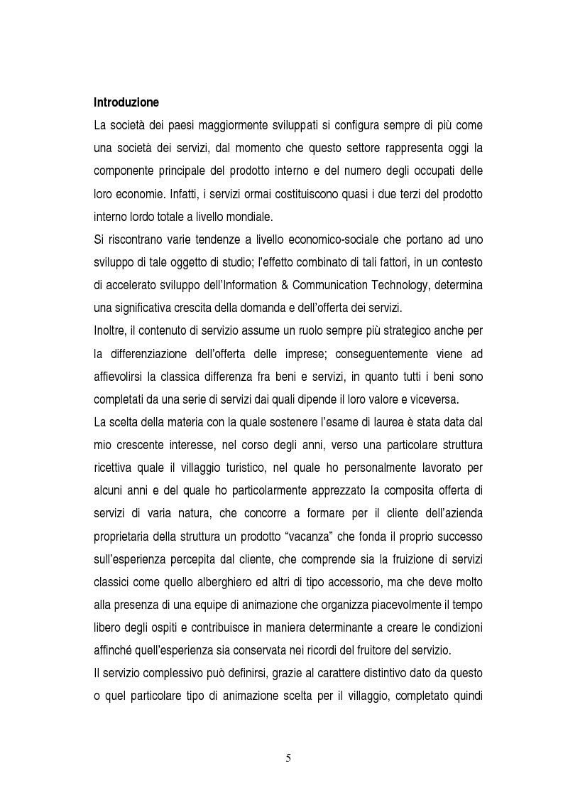 Anteprima della tesi: La gestione dei servizi di un villaggio turistico, Pagina 1