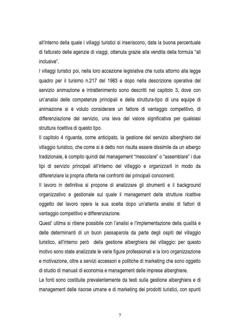 Anteprima della tesi: La gestione dei servizi di un villaggio turistico, Pagina 3