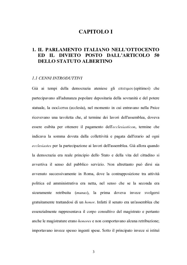 Anteprima della tesi: L'indennità parlamentare, Pagina 1