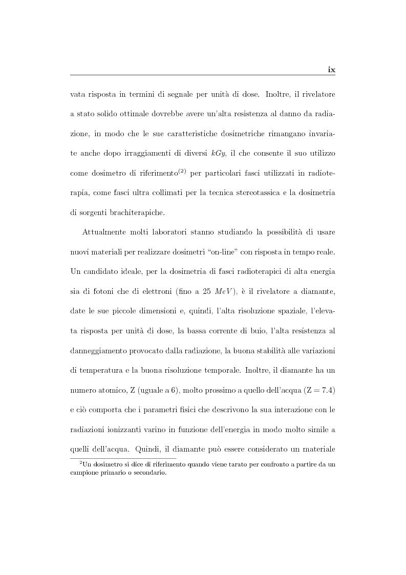 Anteprima della tesi: Parametri dosimetrici caratterizzanti i rivelatori a diamante CVD per la dosimetria di fasci radioterapici, Pagina 4