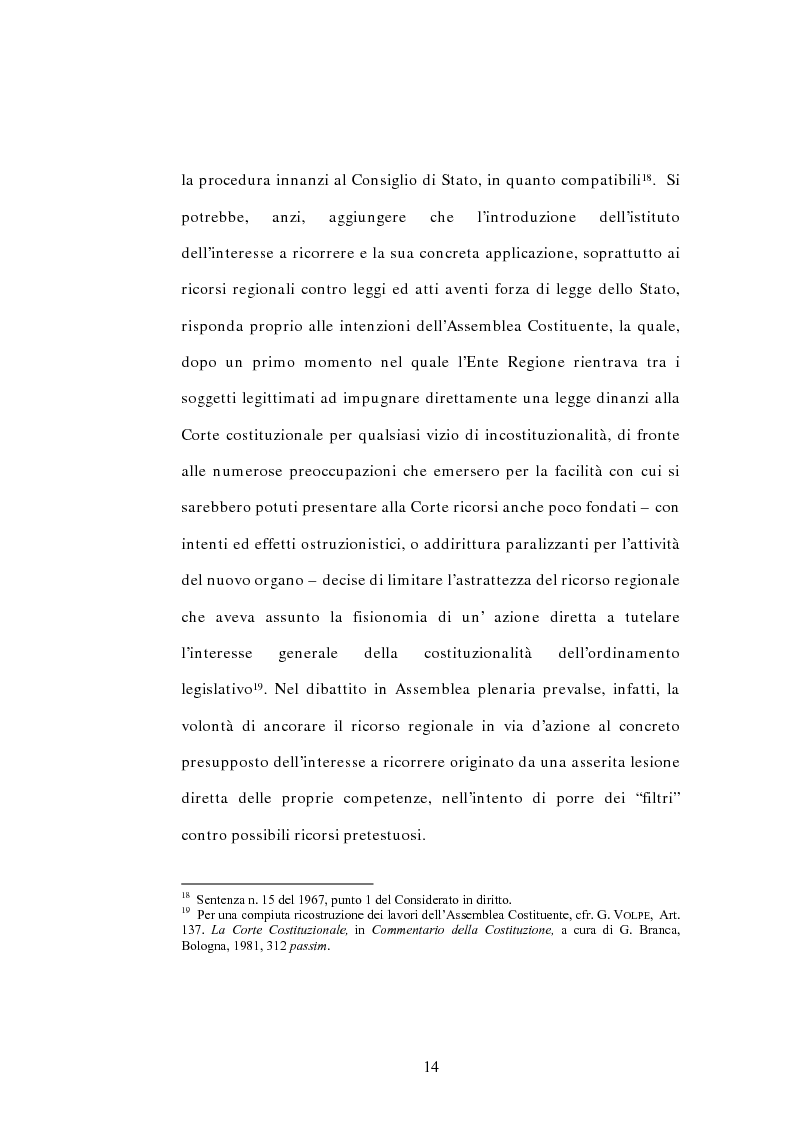Anteprima della tesi: L'interesse a ricorrere nel giudizio di legittimità costituzionale in via principale, Pagina 10