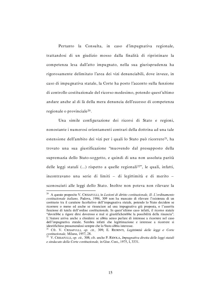 Anteprima della tesi: L'interesse a ricorrere nel giudizio di legittimità costituzionale in via principale, Pagina 11