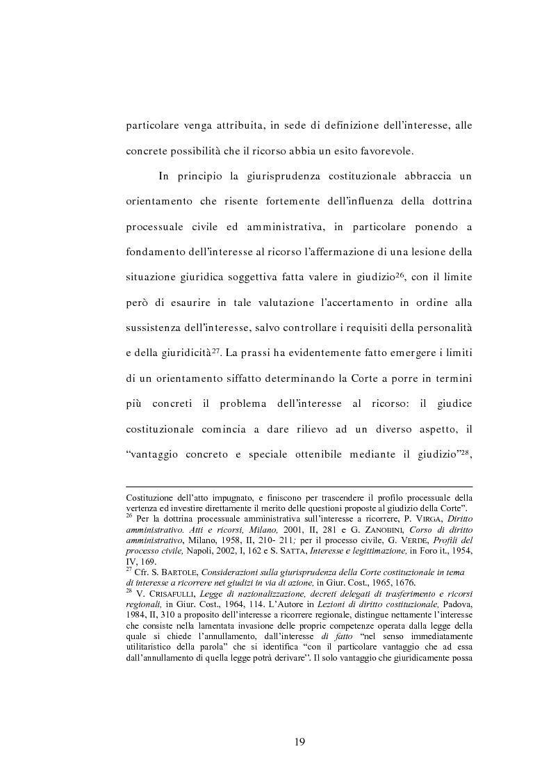 Anteprima della tesi: L'interesse a ricorrere nel giudizio di legittimità costituzionale in via principale, Pagina 15