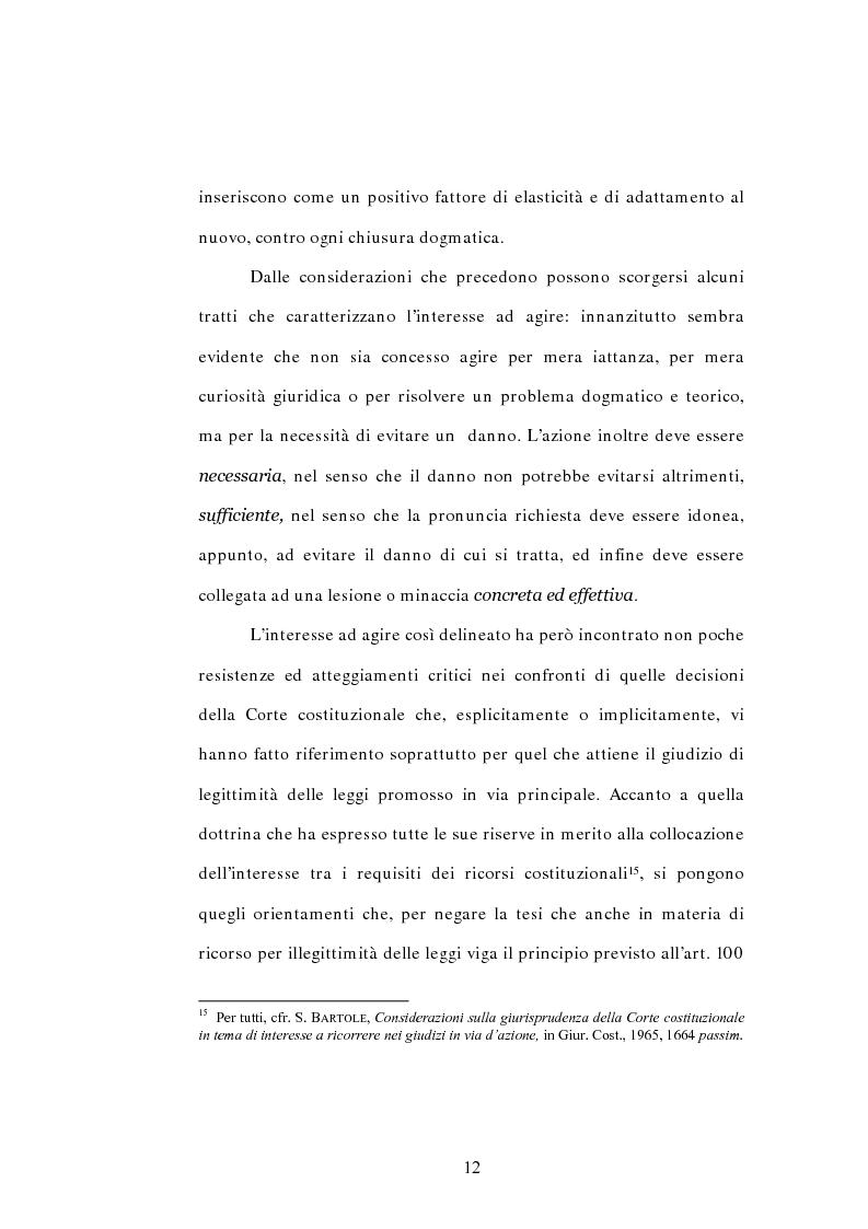 Anteprima della tesi: L'interesse a ricorrere nel giudizio di legittimità costituzionale in via principale, Pagina 8