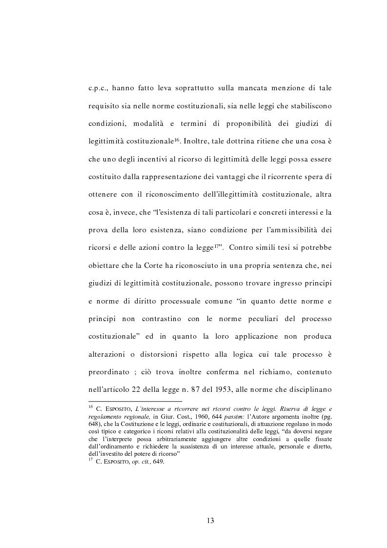 Anteprima della tesi: L'interesse a ricorrere nel giudizio di legittimità costituzionale in via principale, Pagina 9