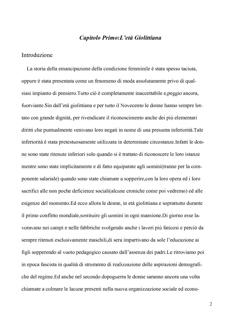 Anteprima della tesi: Le lotte per l'emancipazione della donna: dall'età giolittiana al secondo dopoguerra, Pagina 1