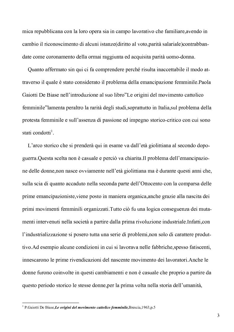 Anteprima della tesi: Le lotte per l'emancipazione della donna: dall'età giolittiana al secondo dopoguerra, Pagina 2