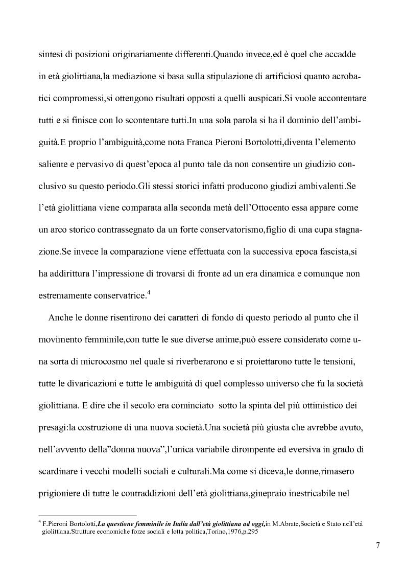 Anteprima della tesi: Le lotte per l'emancipazione della donna: dall'età giolittiana al secondo dopoguerra, Pagina 6