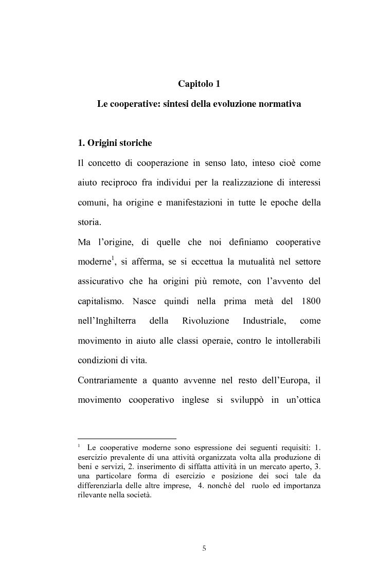 Anteprima della tesi: La posizione del socio lavoratore nelle cooperative di lavoro con particolare riferimento alla mutualità prevalente, Pagina 1