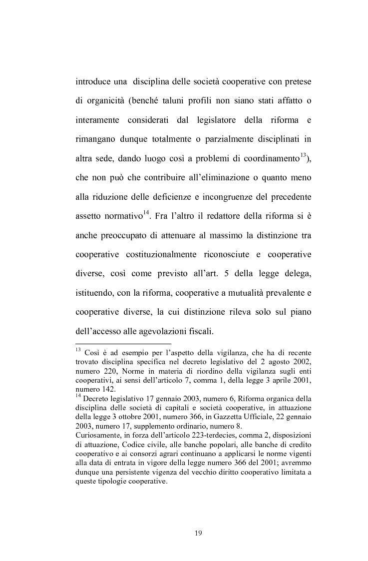 Anteprima della tesi: La posizione del socio lavoratore nelle cooperative di lavoro con particolare riferimento alla mutualità prevalente, Pagina 15