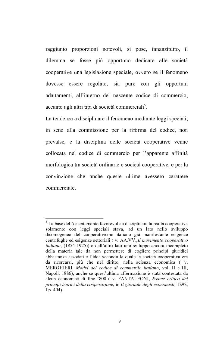 Anteprima della tesi: La posizione del socio lavoratore nelle cooperative di lavoro con particolare riferimento alla mutualità prevalente, Pagina 5