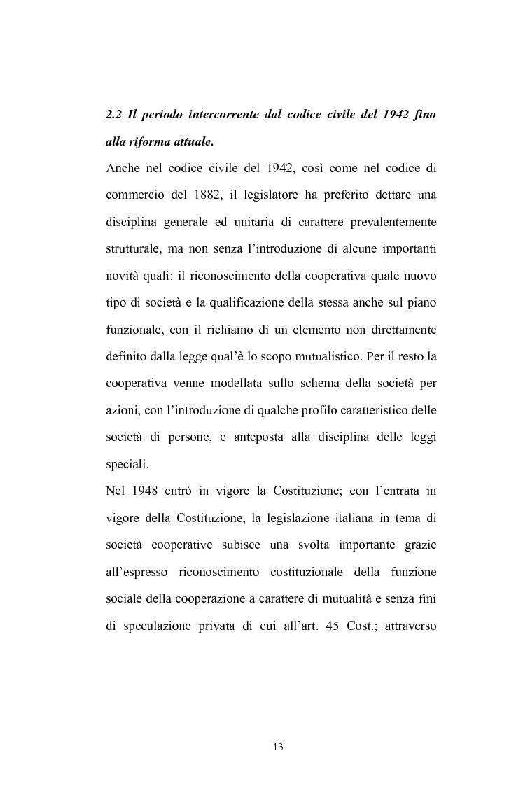 Anteprima della tesi: La posizione del socio lavoratore nelle cooperative di lavoro con particolare riferimento alla mutualità prevalente, Pagina 9