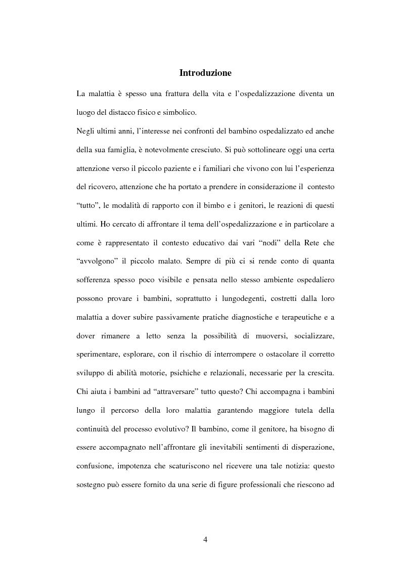 Anteprima della tesi: Educazione e ospedalizzazione del minore, Pagina 1