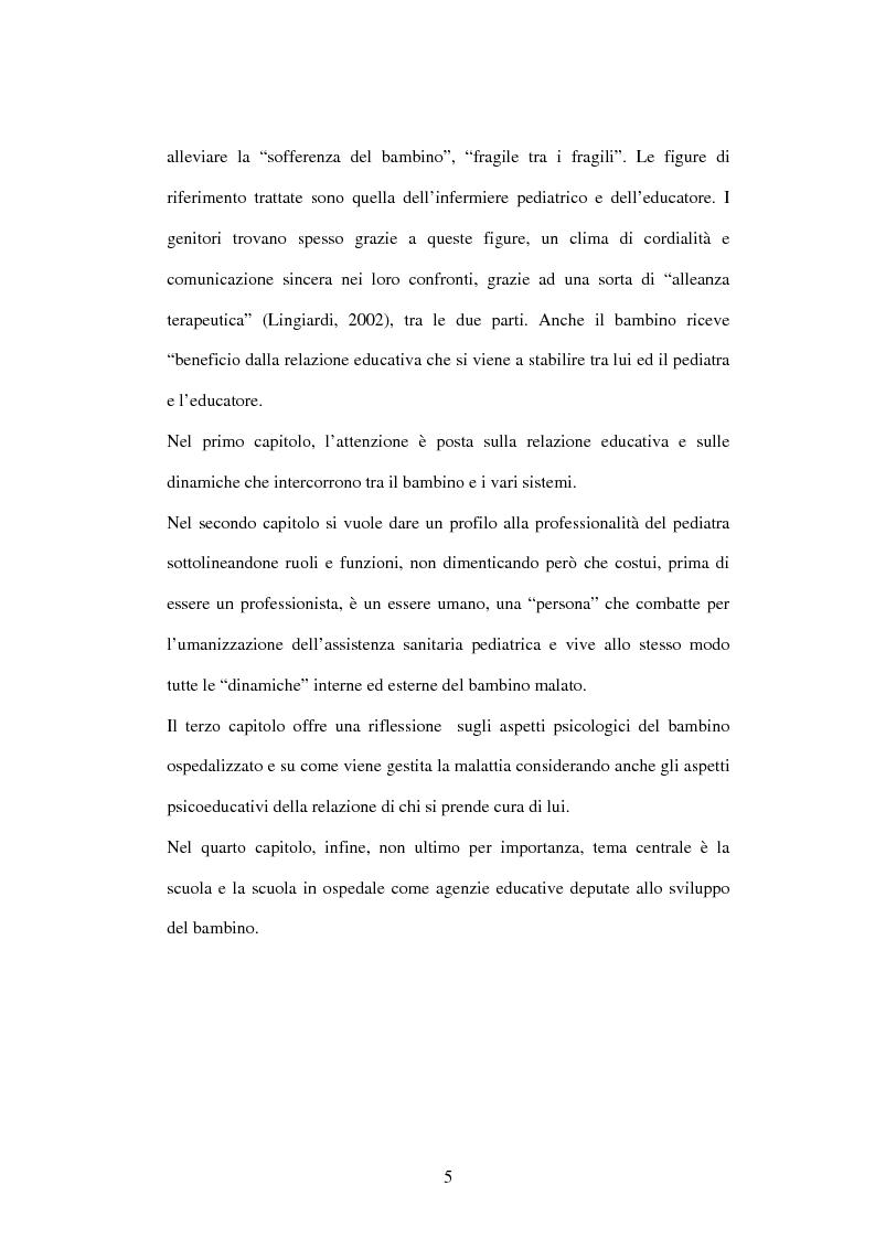 Anteprima della tesi: Educazione e ospedalizzazione del minore, Pagina 2