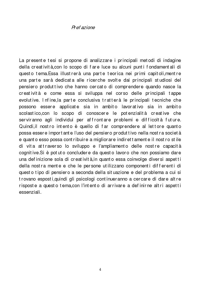 Anteprima della tesi: Metodi di indagine della creatività, Pagina 1