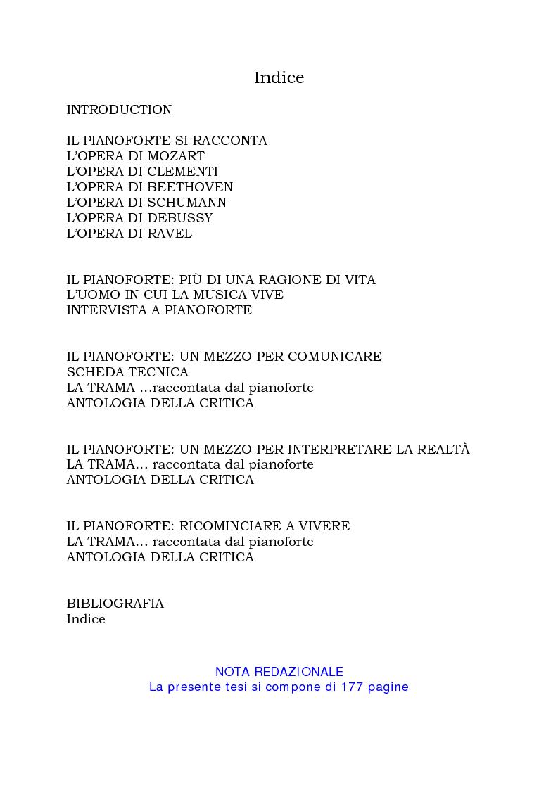 Indice della tesi: Il Pianoforte come espressione dell'anima: viaggio tra cinema e realtà, Pagina 1
