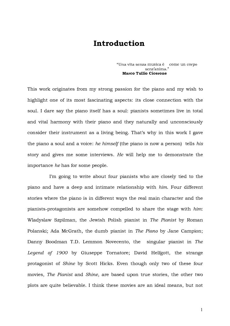 Anteprima della tesi: Il Pianoforte come espressione dell'anima: viaggio tra cinema e realtà, Pagina 1