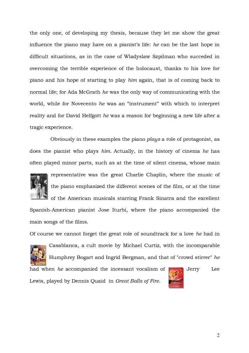 Anteprima della tesi: Il Pianoforte come espressione dell'anima: viaggio tra cinema e realtà, Pagina 2