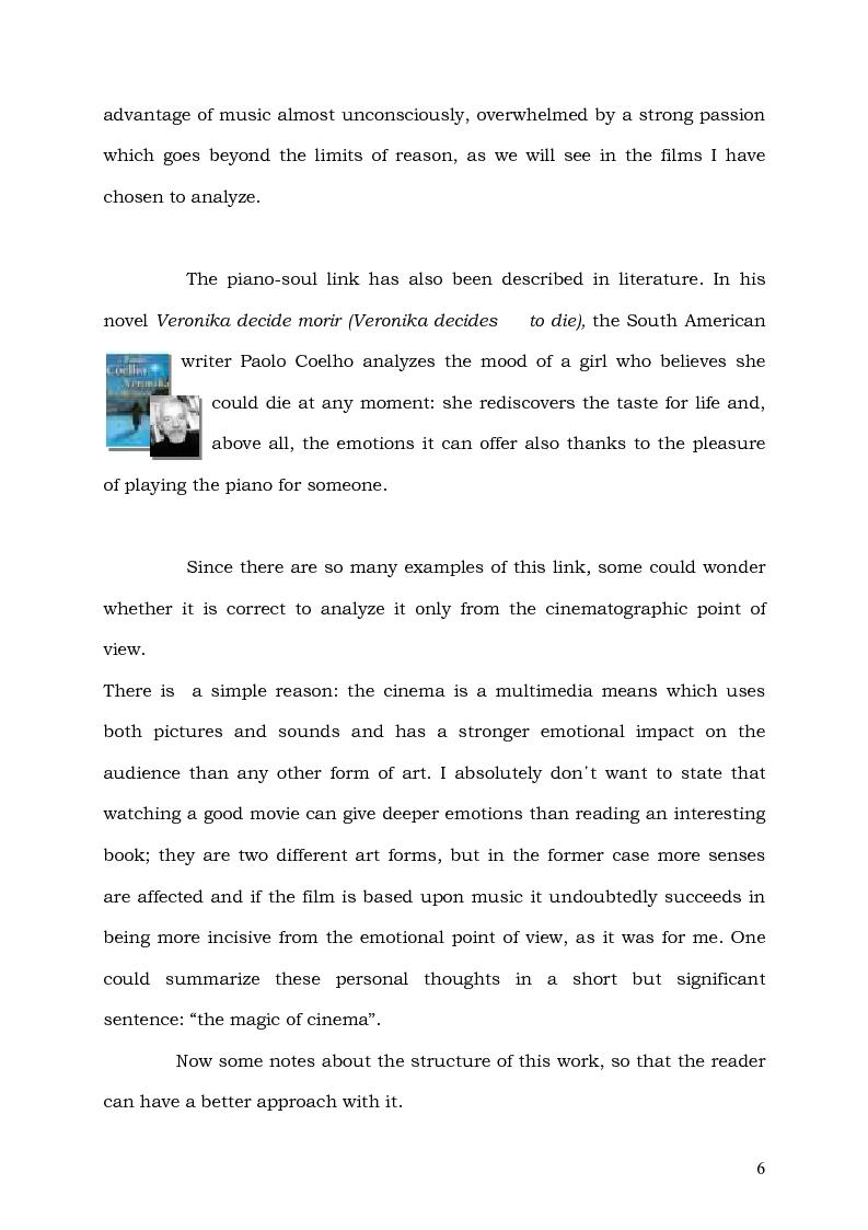 Anteprima della tesi: Il Pianoforte come espressione dell'anima: viaggio tra cinema e realtà, Pagina 6
