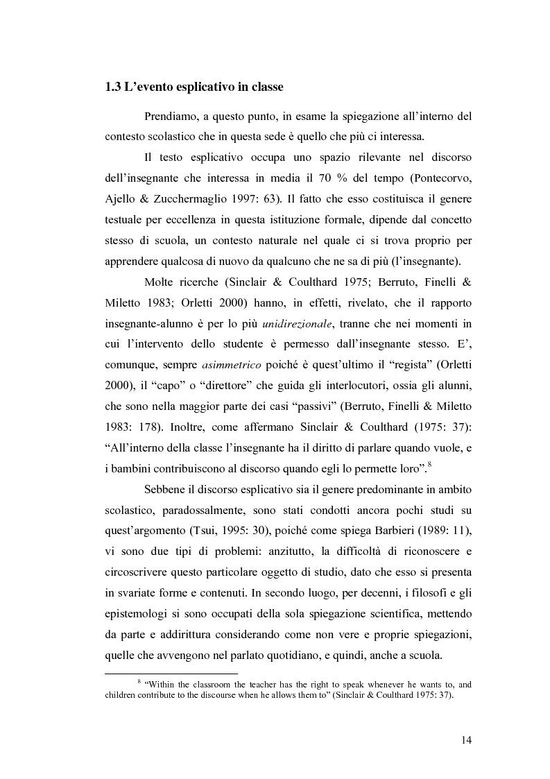Anteprima della tesi: ''Ma dove stanno i riti, professoressa?''. Interazione ed eventi esplicativi in contesti scolastici., Pagina 14