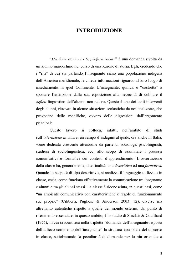 Anteprima della tesi: ''Ma dove stanno i riti, professoressa?''. Interazione ed eventi esplicativi in contesti scolastici., Pagina 3