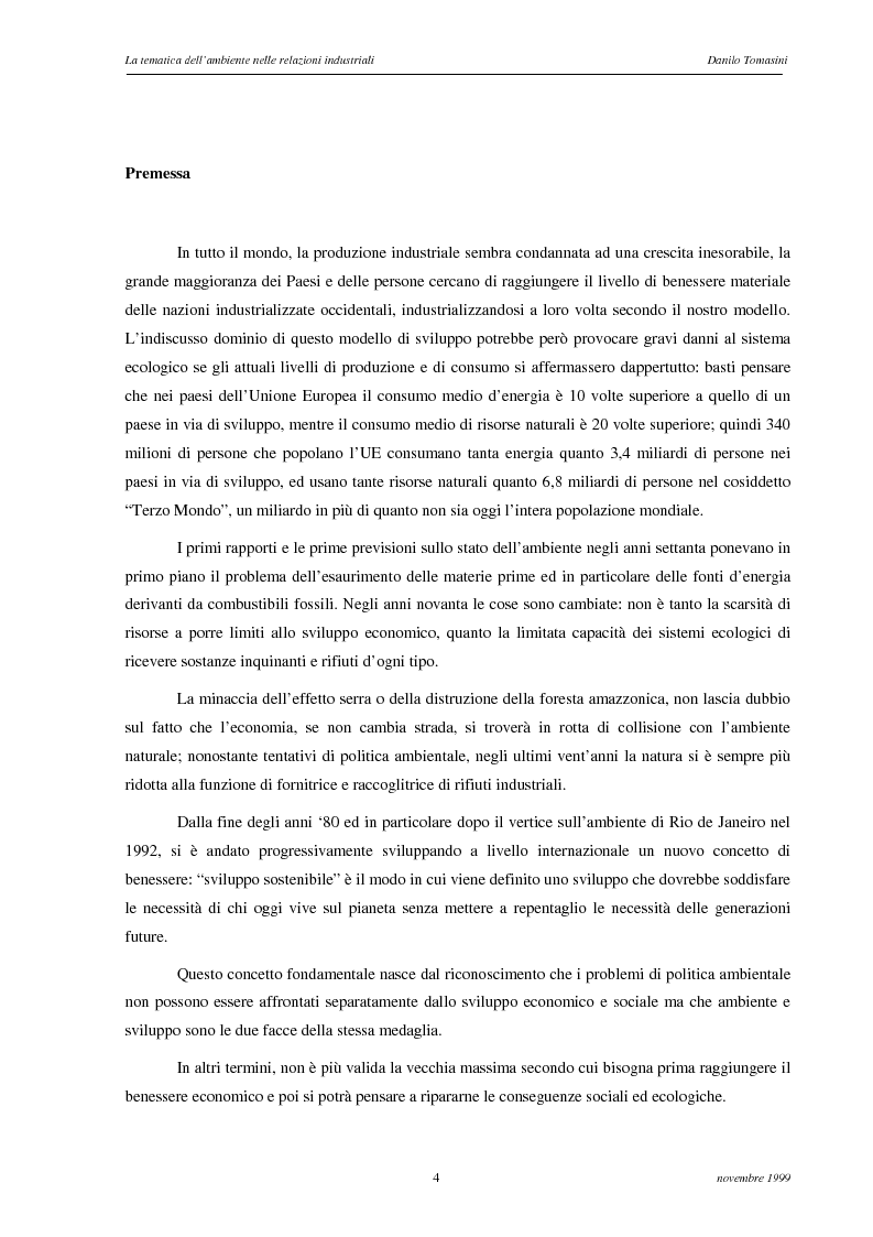 Anteprima della tesi: La tematica dell'ambiente nelle relazioni industriali, Pagina 1