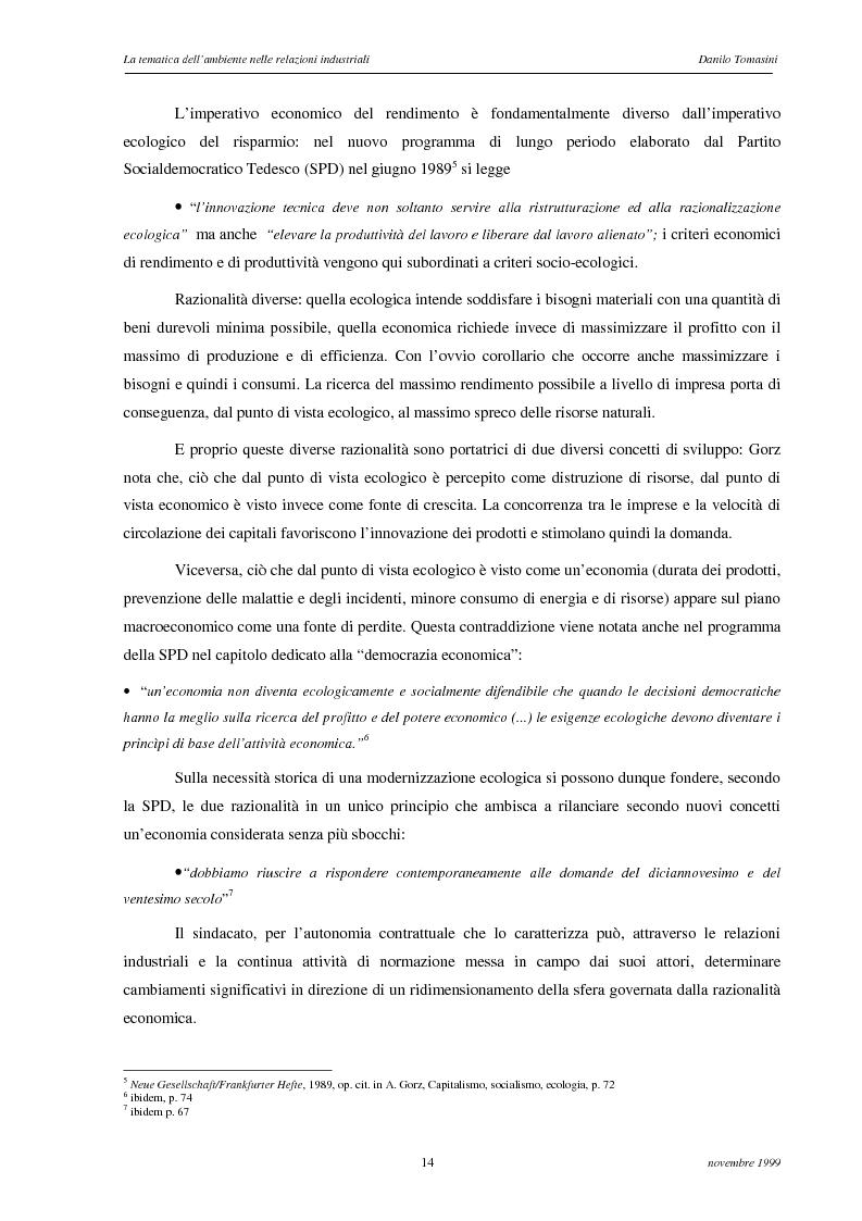 Anteprima della tesi: La tematica dell'ambiente nelle relazioni industriali, Pagina 11