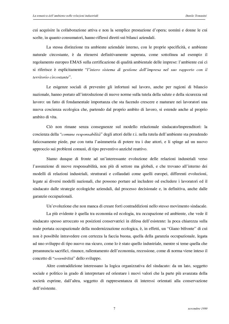 Anteprima della tesi: La tematica dell'ambiente nelle relazioni industriali, Pagina 4