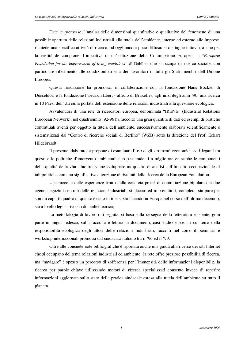 Anteprima della tesi: La tematica dell'ambiente nelle relazioni industriali, Pagina 5