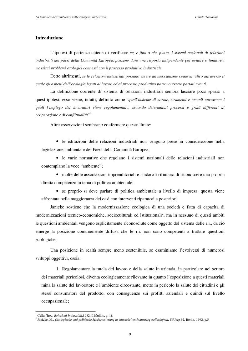 Anteprima della tesi: La tematica dell'ambiente nelle relazioni industriali, Pagina 6