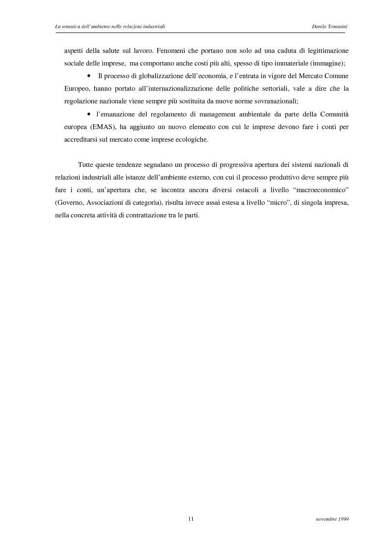 Anteprima della tesi: La tematica dell'ambiente nelle relazioni industriali, Pagina 8