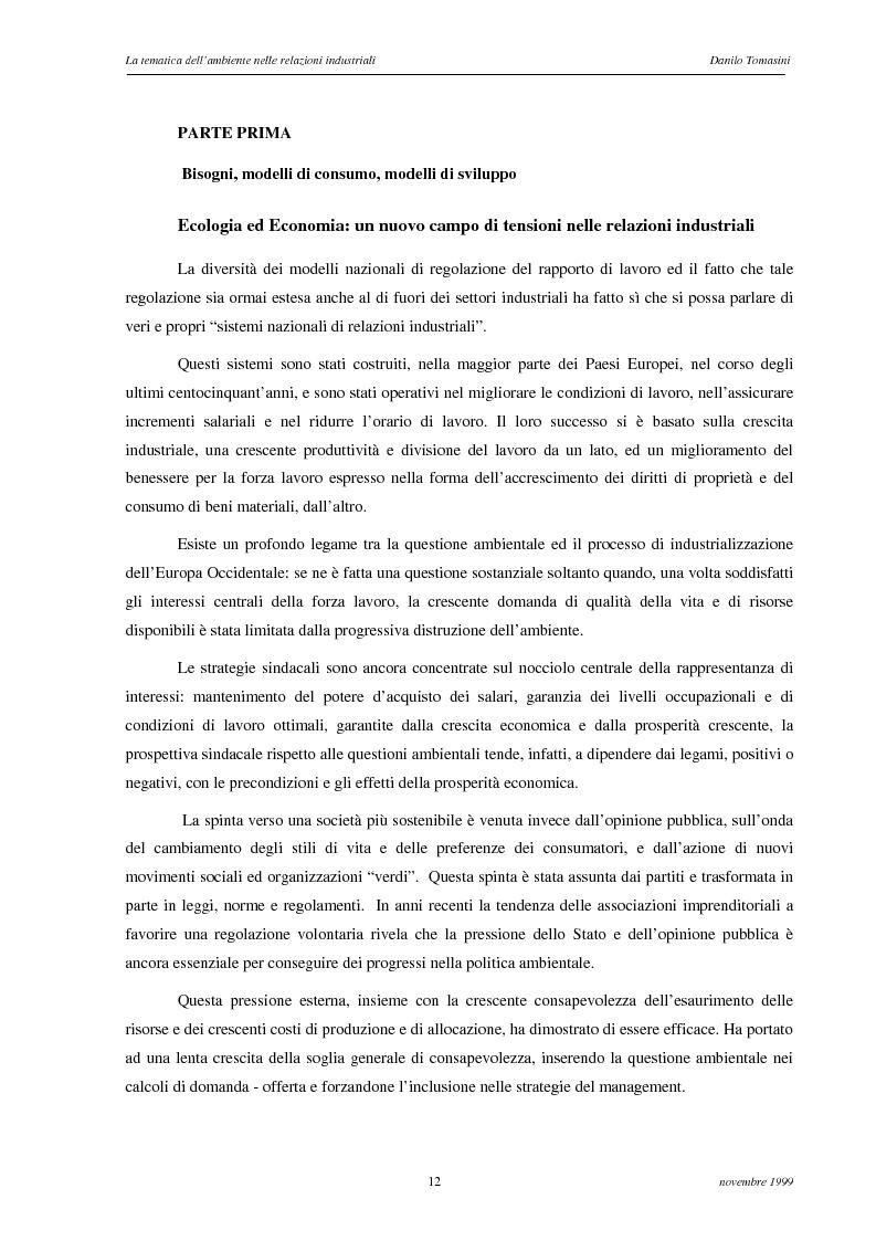 Anteprima della tesi: La tematica dell'ambiente nelle relazioni industriali, Pagina 9
