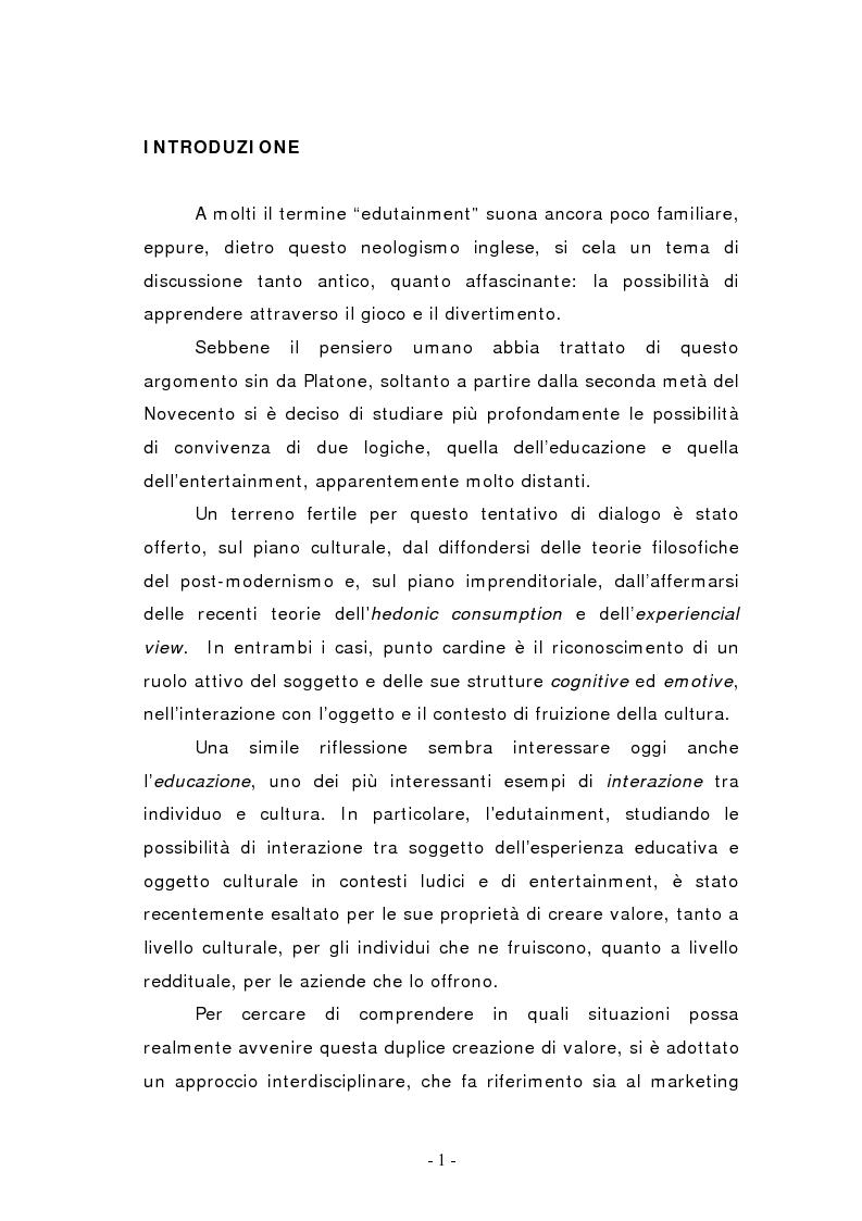 Anteprima della tesi: L'edutainment come fonte di valore per l'impresa e l'individuo., Pagina 1