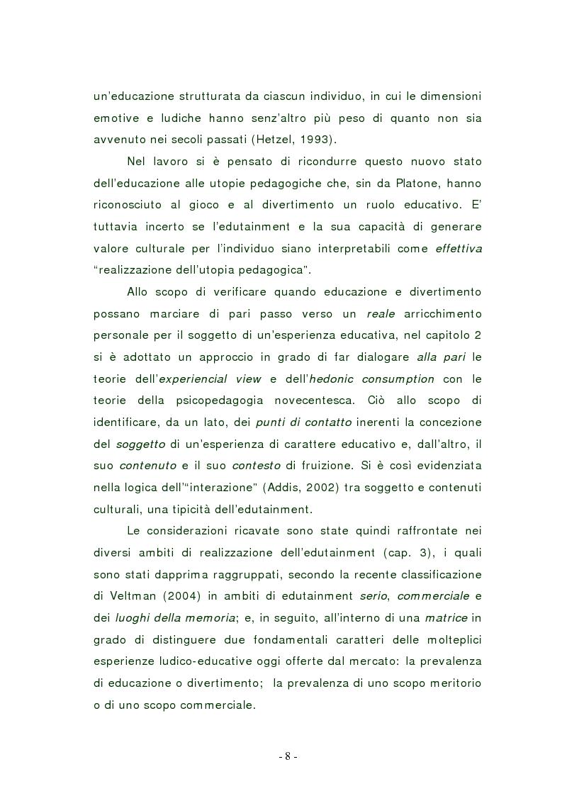 Anteprima della tesi: L'edutainment come fonte di valore per l'impresa e l'individuo., Pagina 8