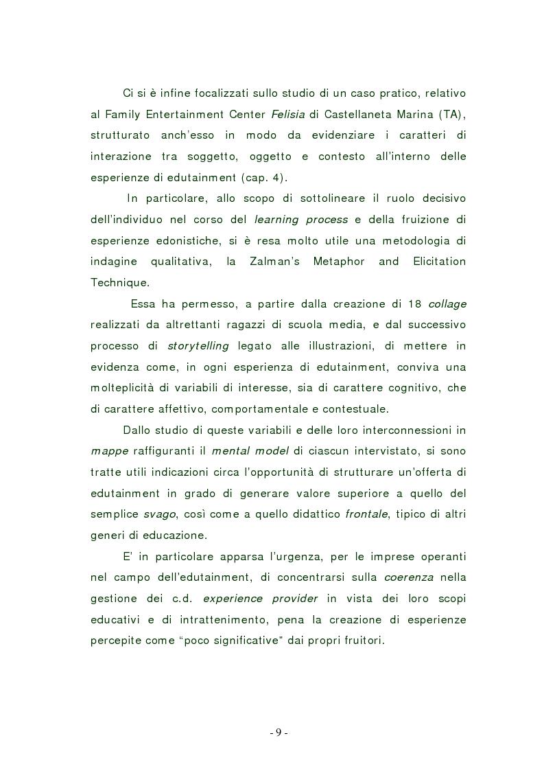 Anteprima della tesi: L'edutainment come fonte di valore per l'impresa e l'individuo., Pagina 9