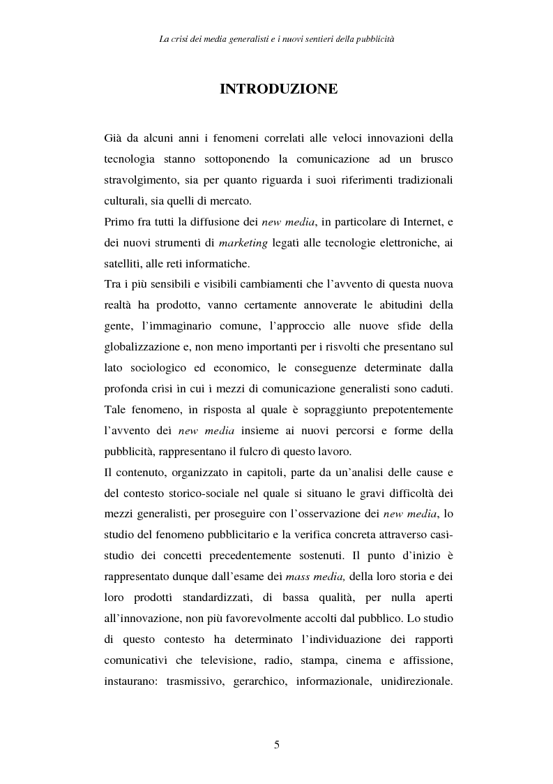 Anteprima della tesi: La crisi dei media generalisti e i nuovi sentieri della pubblicità, Pagina 1