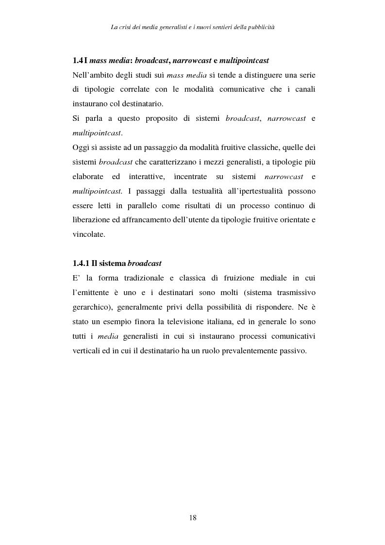 Anteprima della tesi: La crisi dei media generalisti e i nuovi sentieri della pubblicità, Pagina 14