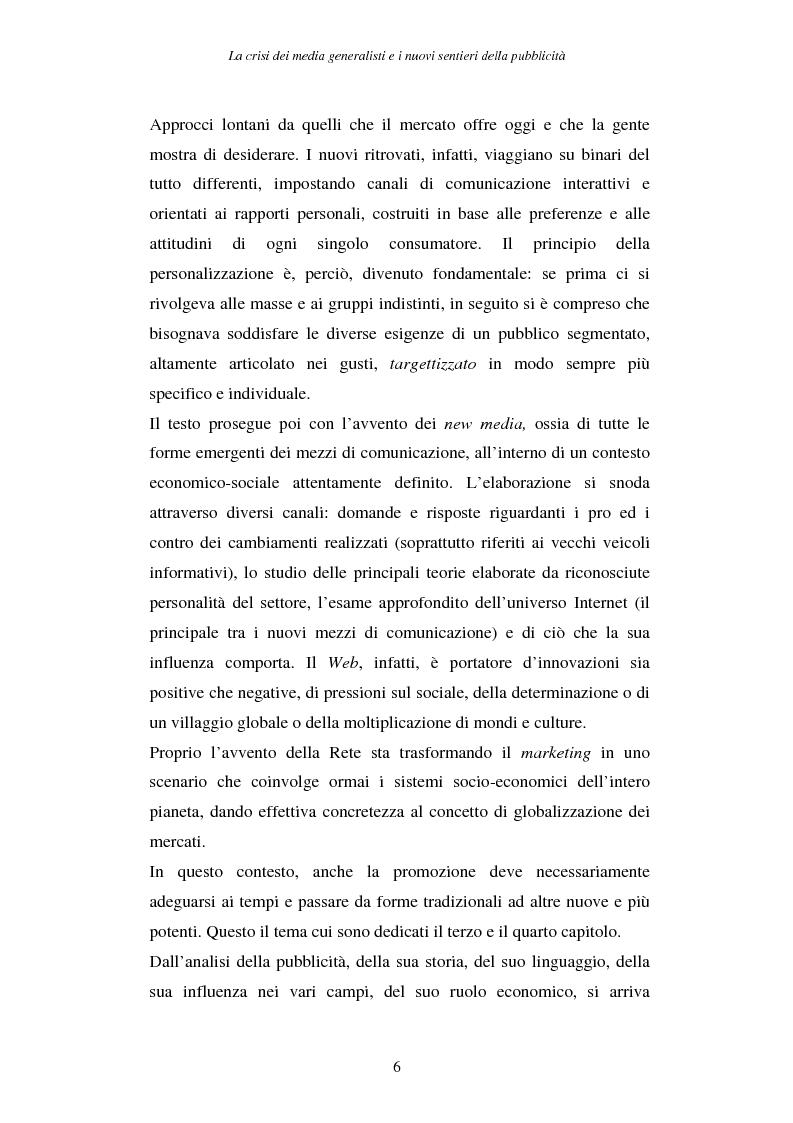 Anteprima della tesi: La crisi dei media generalisti e i nuovi sentieri della pubblicità, Pagina 2