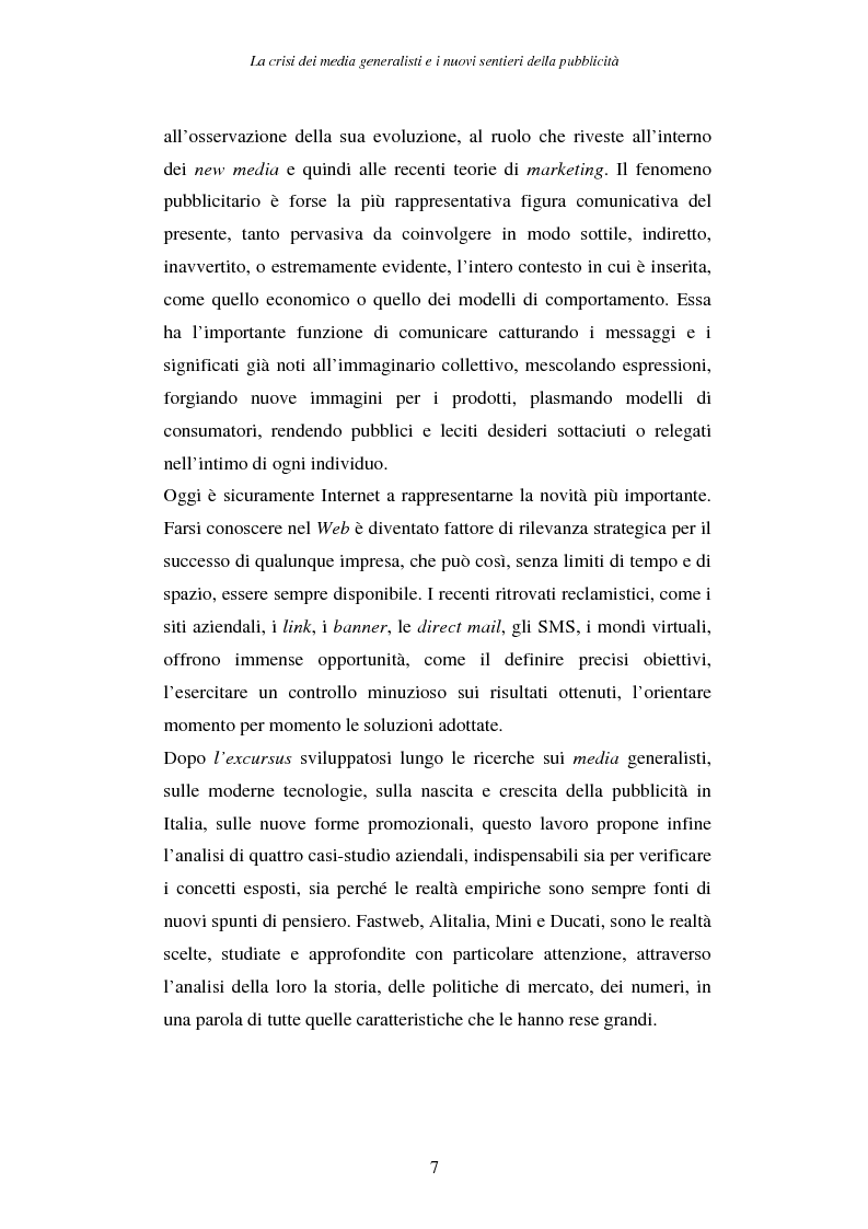 Anteprima della tesi: La crisi dei media generalisti e i nuovi sentieri della pubblicità, Pagina 3