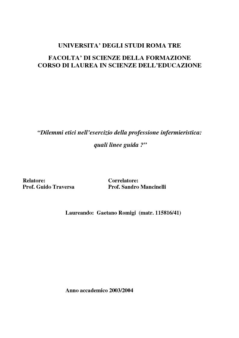 Anteprima della tesi: Dilemmi etici nell'esercizio della professione infermieristica: quali linee guida?, Pagina 1